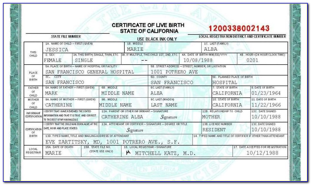Oregon Birth Certificate Long Form