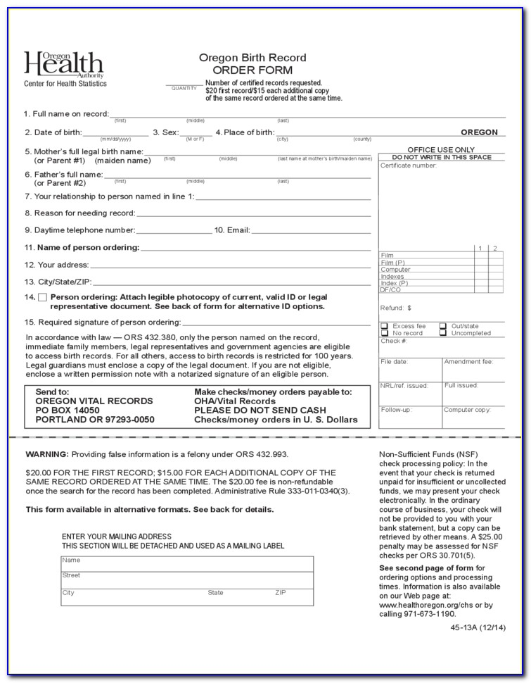 Oregon Birth Certificate Order Form