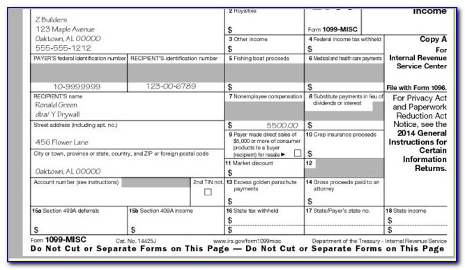 Printable 1099 Misc Form 2017 Free