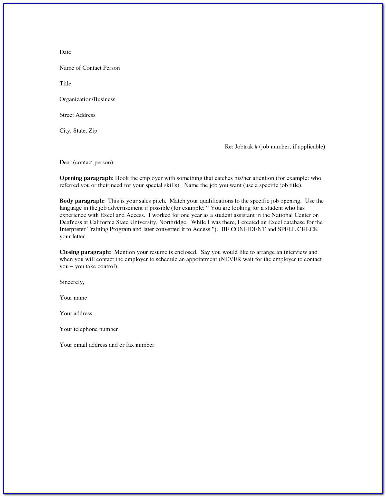 Printable Cover Letter Examples