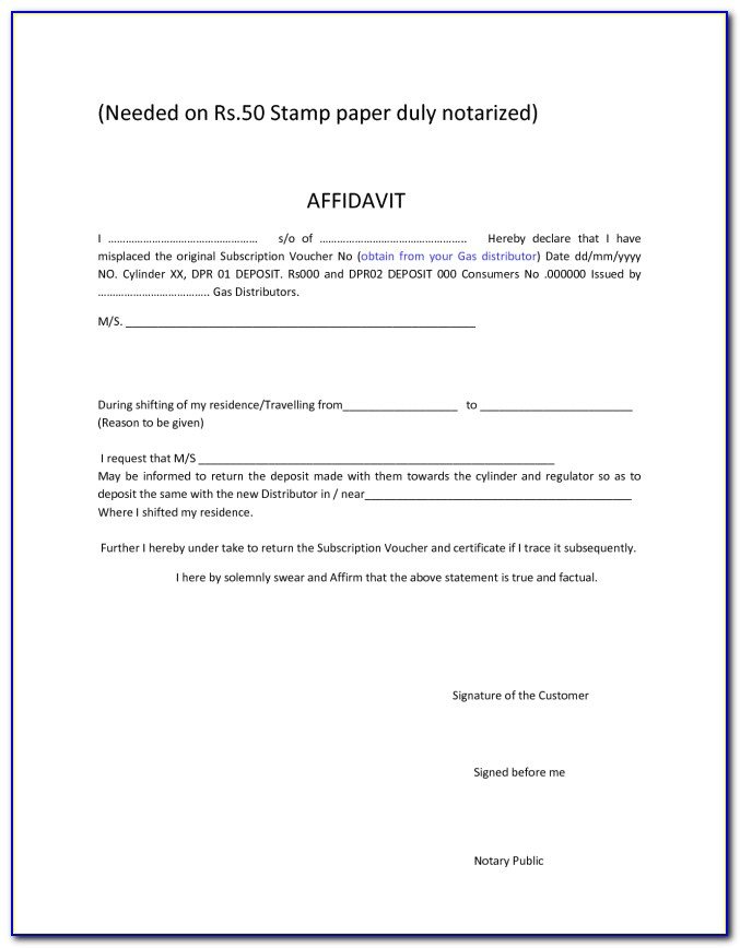 Printable Notary Certificate