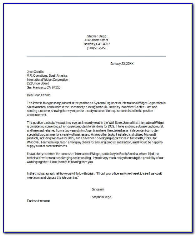 Professional Cover Letter For Resume Example