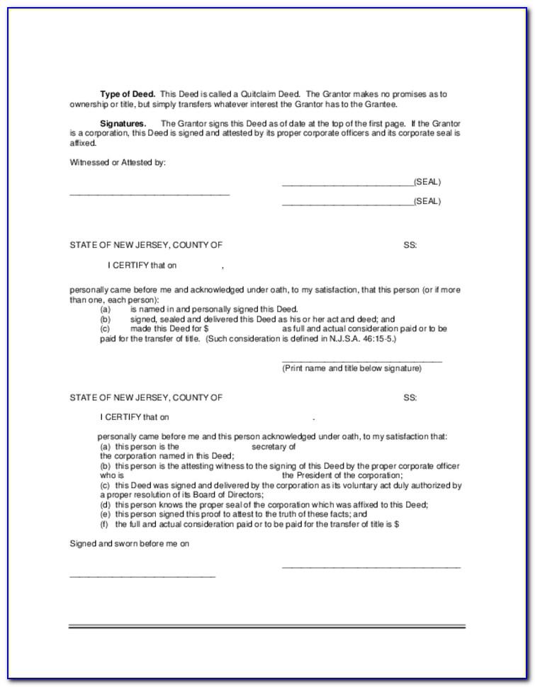 quit claim deed form nj  Quit Claim Deed Form Camden County Nj - Form : Resume ...