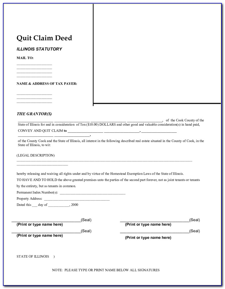 quick claim deed form for illinois  Quit Claim Deed Form Illinois Cook County - Form : Resume ...