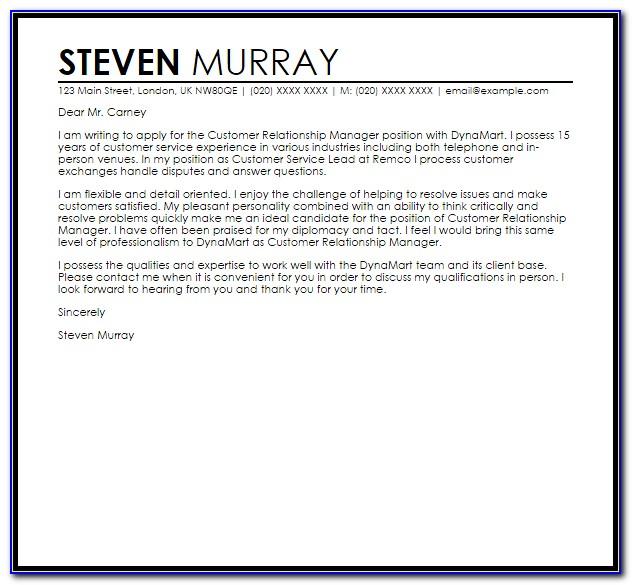 Relationship Manager Cover Letter