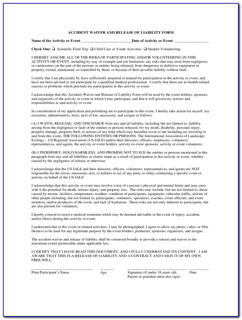 Release Of Liability Form Template Pdf