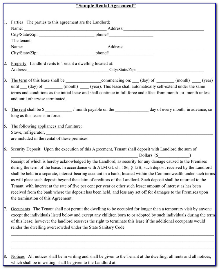 Rental Lease Forms