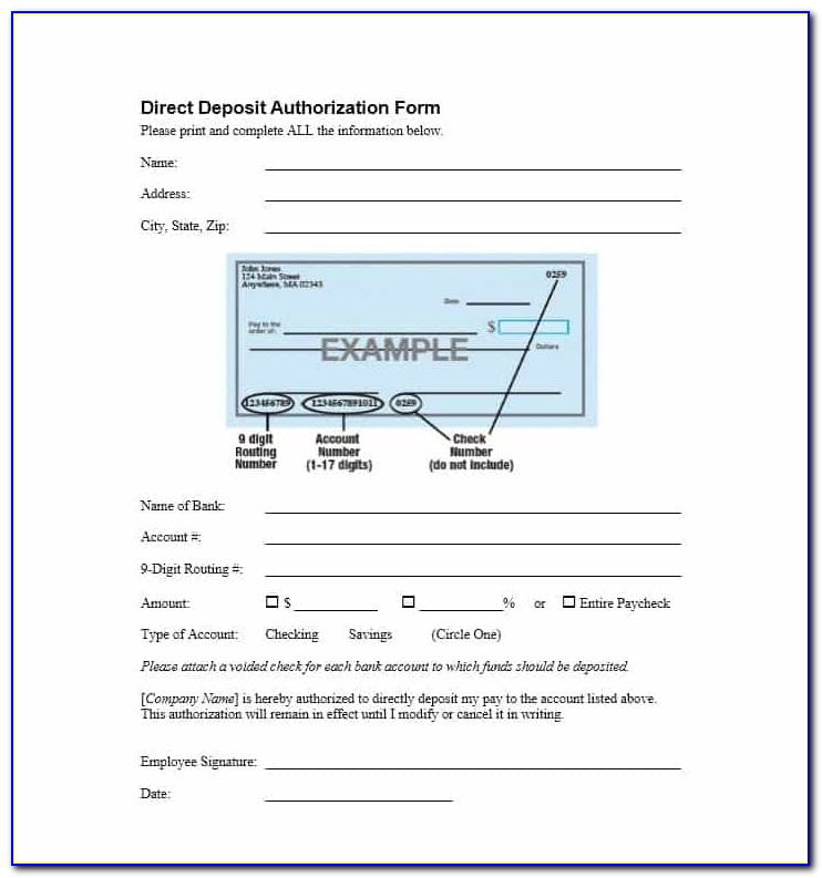 Sample Ach Direct Deposit Authorization Form