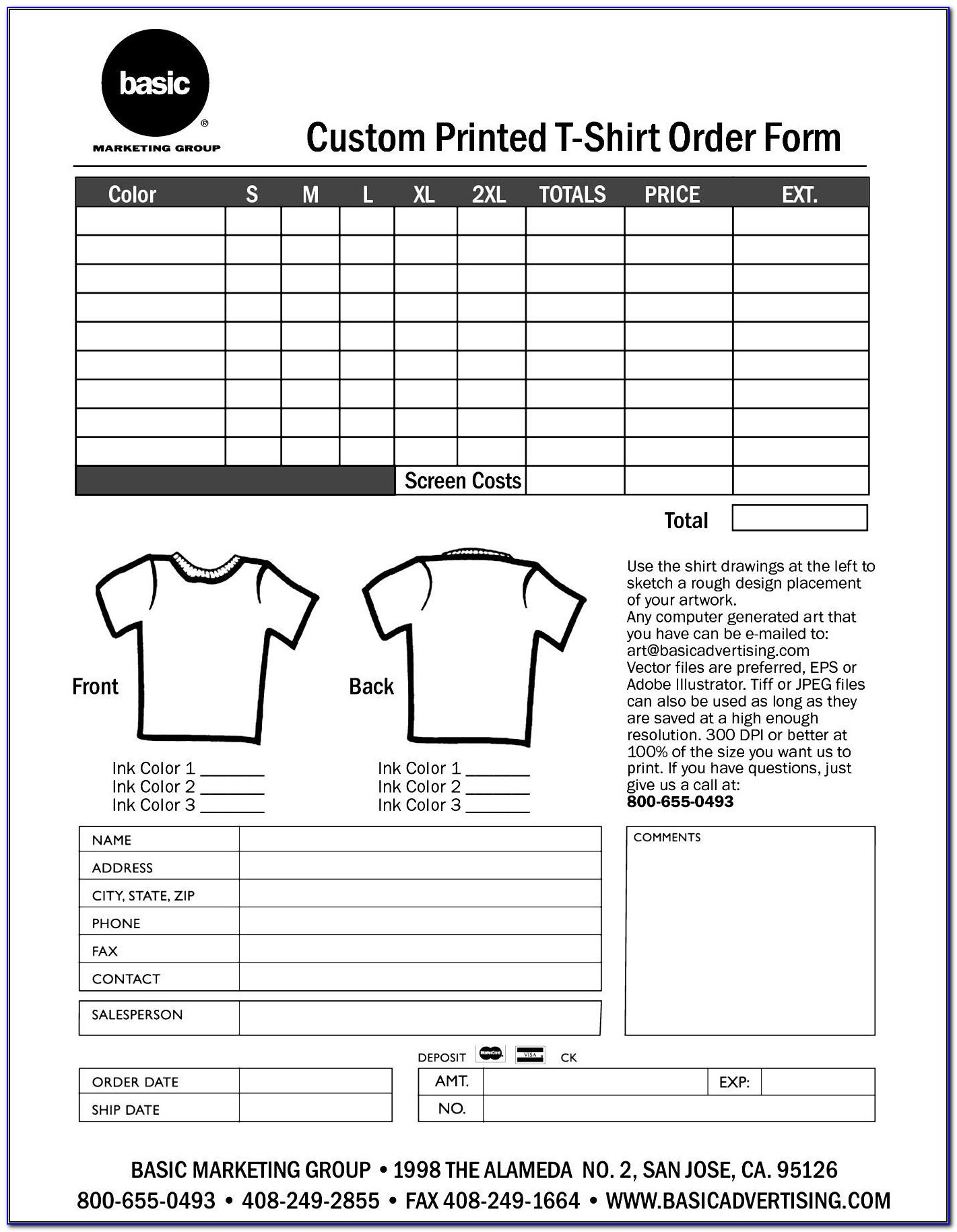 Sample Family Reunion T Shirt Order Form