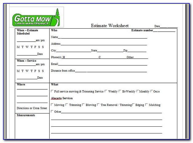 Sample Lawn Care Estimate Form