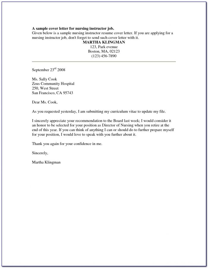 Samples Of Professional Resumes And Cover Letters