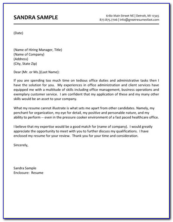 Samples Of Resume Cover Letters For Administrative Assistants
