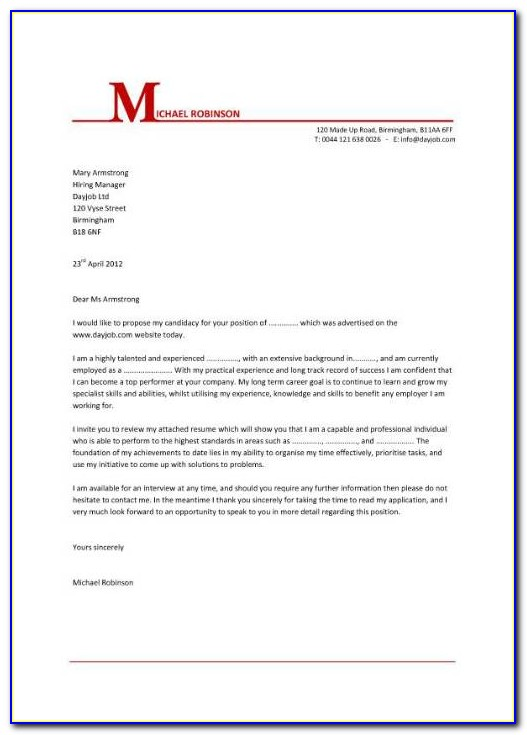 Template Cover Letter For Admin Job