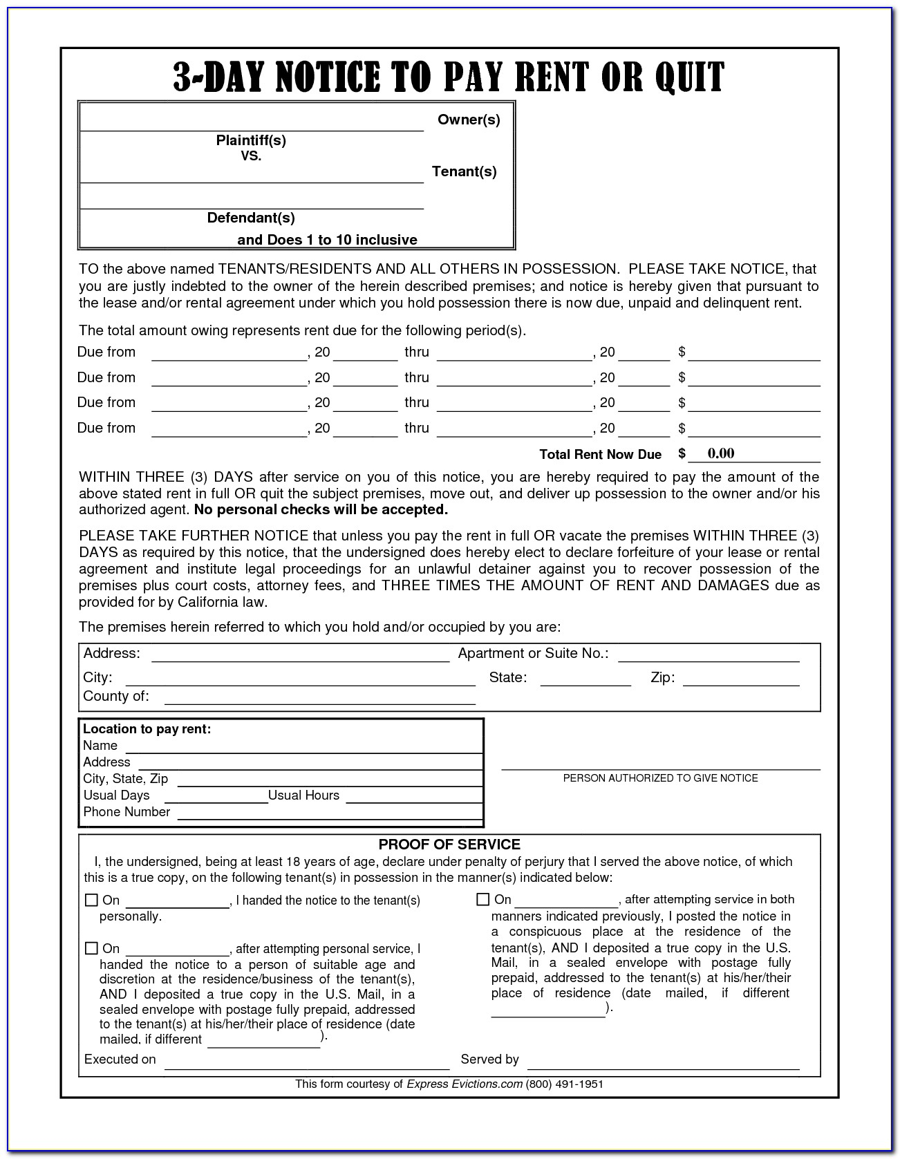3 Day Notice To Pay Or Quit Template California