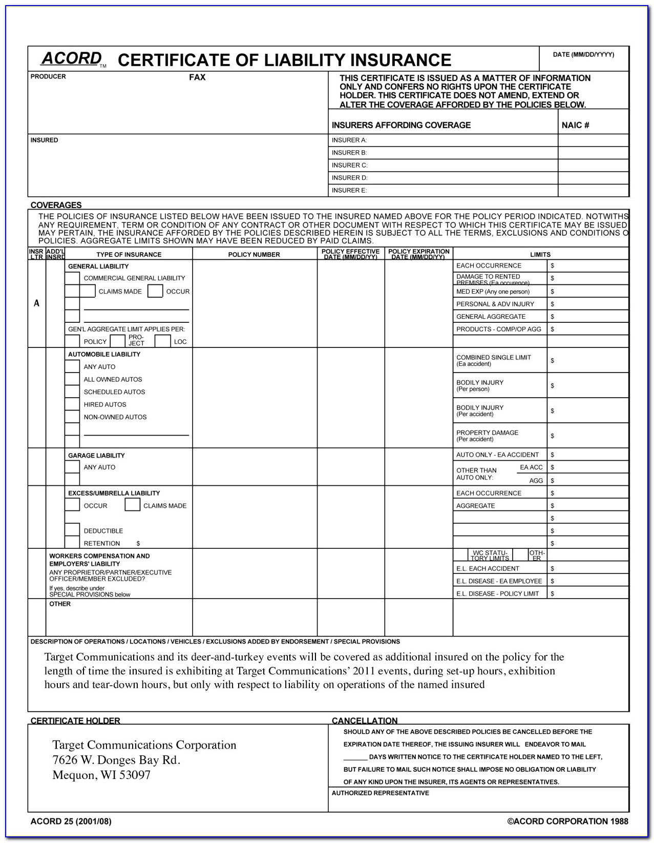 Acord Certificate Of Liability Insurance Template Top Certificate Liability Insurance Form Template Best Acord