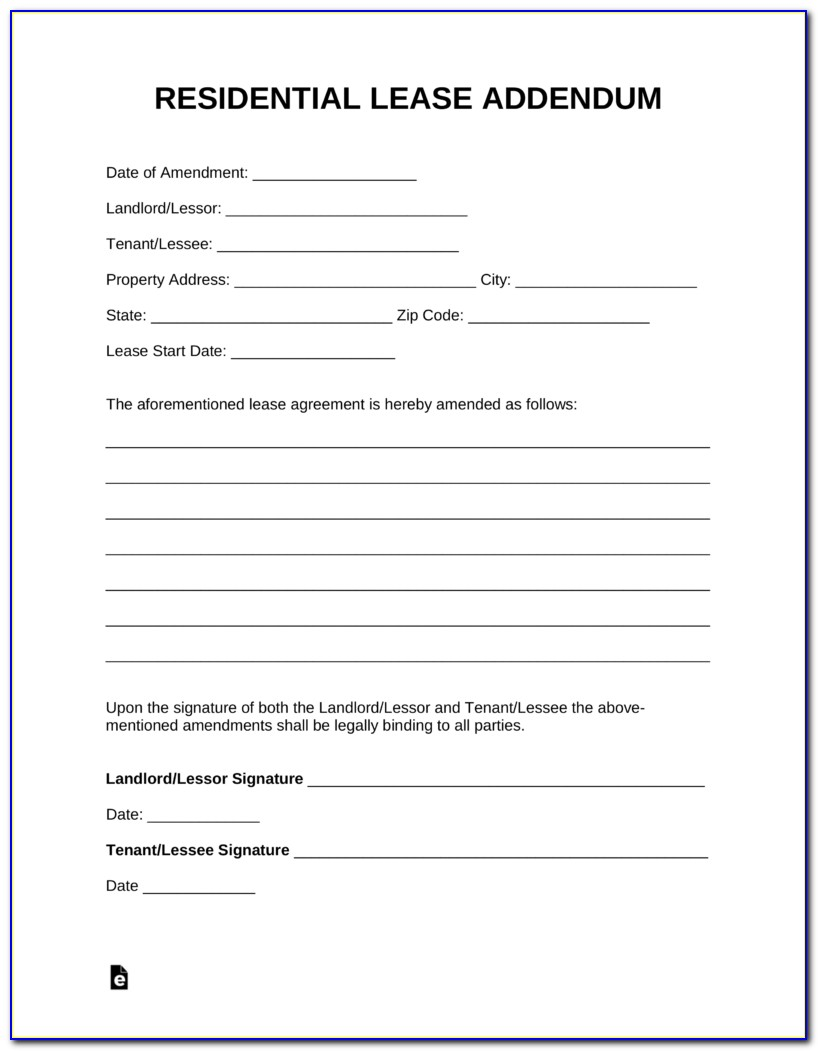 Addendum To Rental Agreement Format