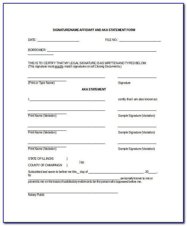 Aka Affidavit Form