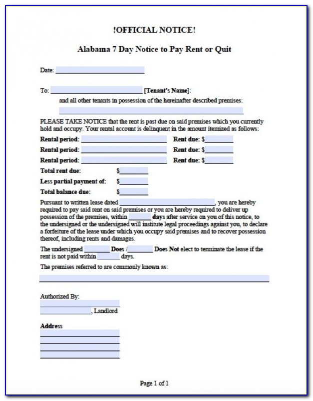 Alabama Eviction Notice Forms
