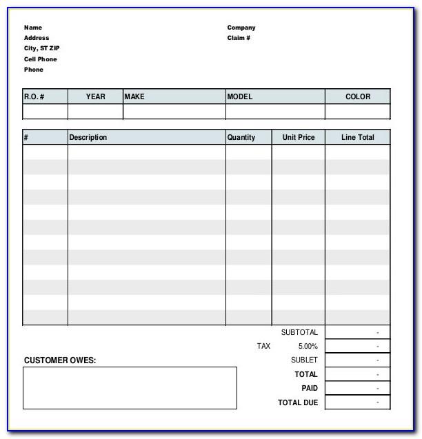Auto Repair Work Order Form Pdf