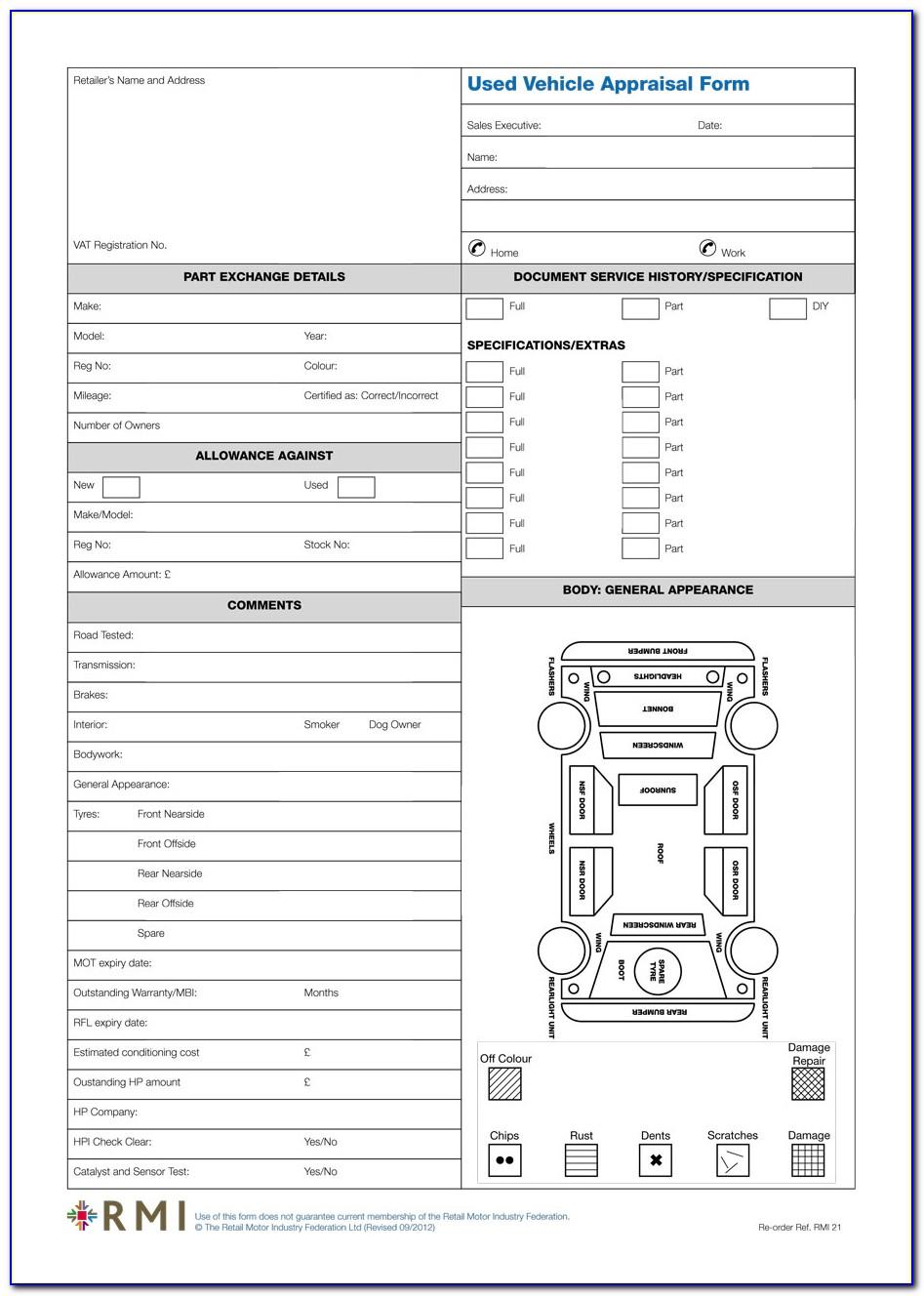 Automobile Appraisal Form