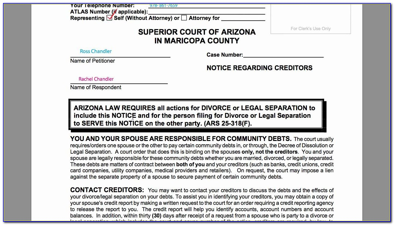Az Divorce Filing Fees