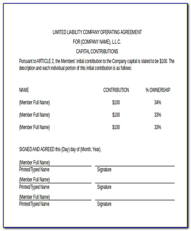 California Short Form Llc Operating Agreement