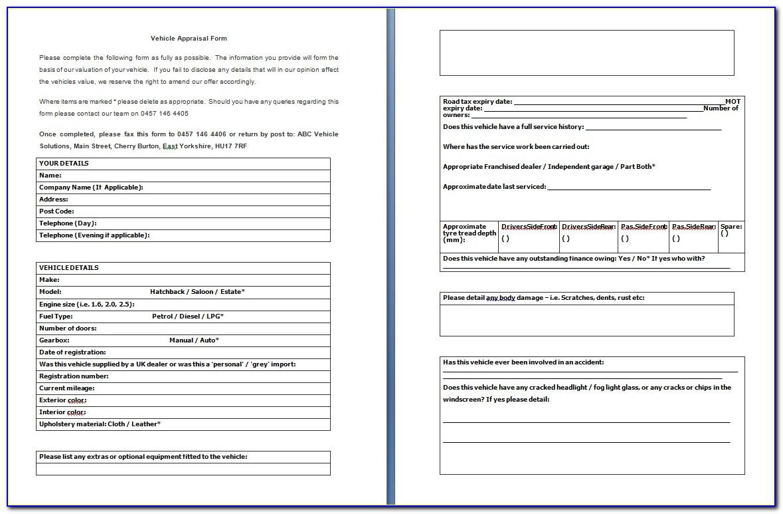 Car Appraisal Form Pdf