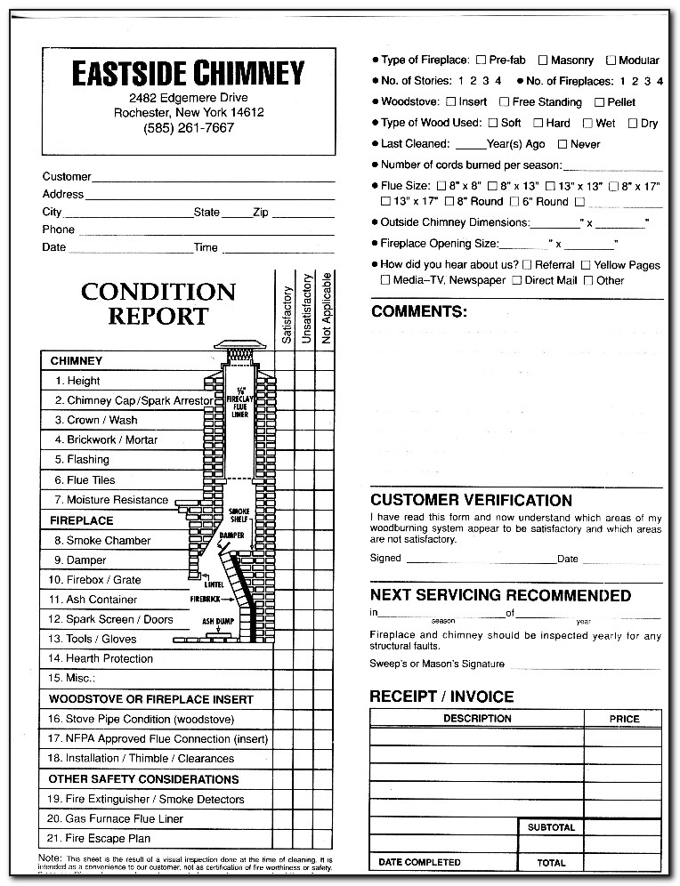 Chimney Inspection Report Form