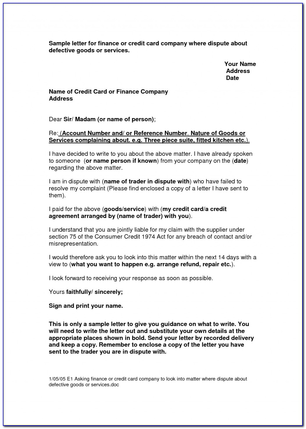 Dispute Credit Report Letter Best Business Template For