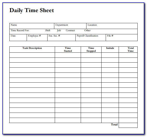 Daily Time Sheet Form Excel