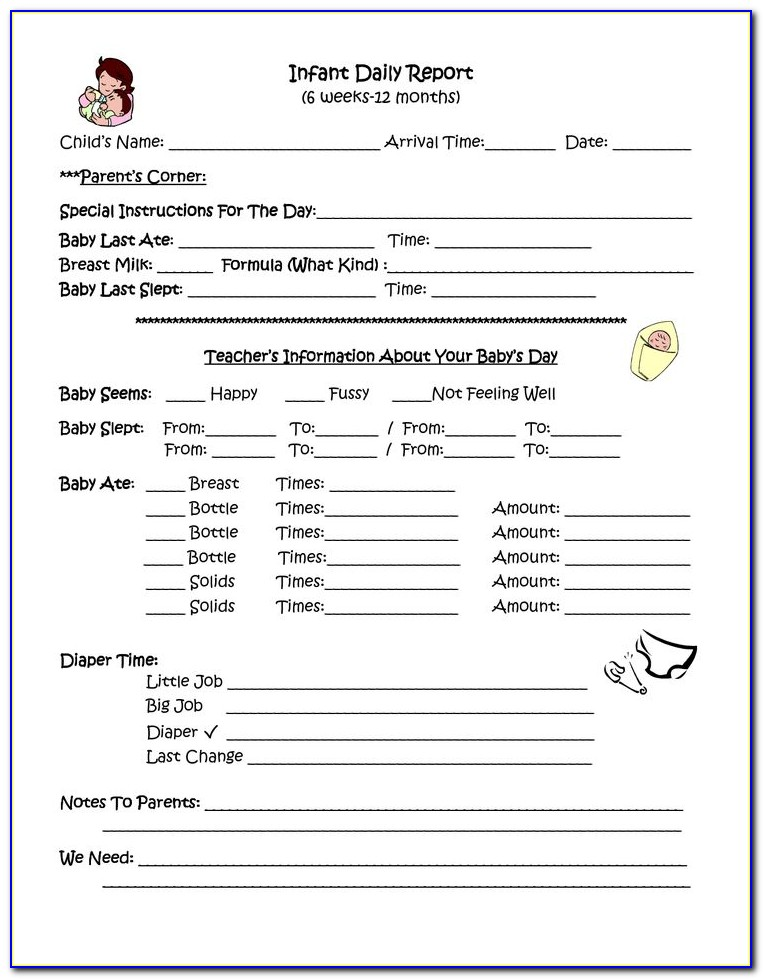 Daycare Forms For Infants