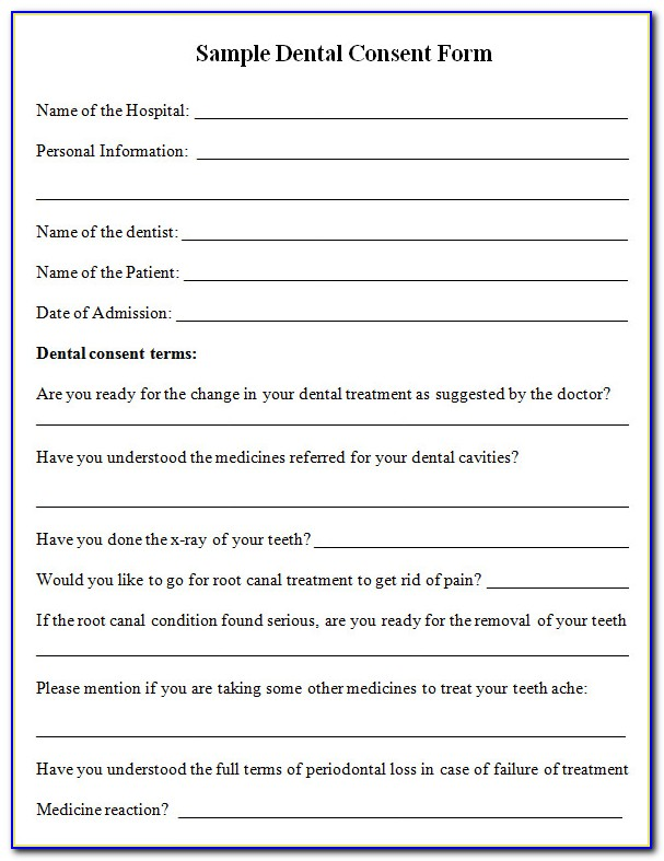 Dental Informed Consent Form Template