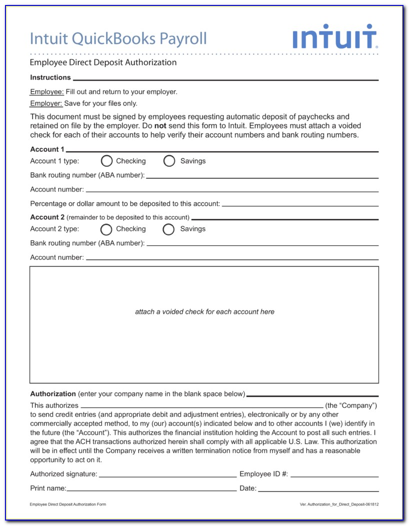 Direct Deposit Forms For Quickbooks Payroll