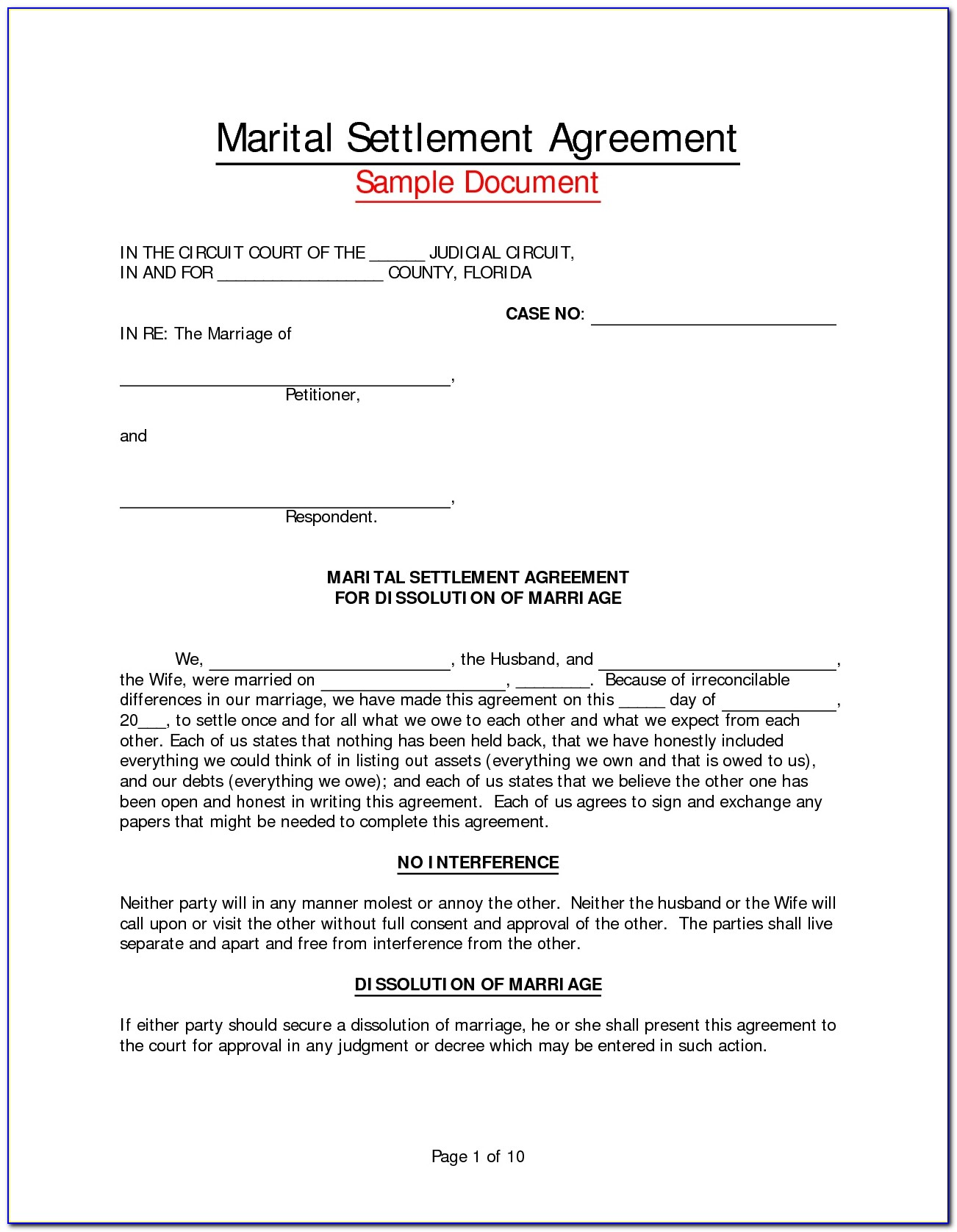 Virginia Separation Agreement Form Free Form Resume