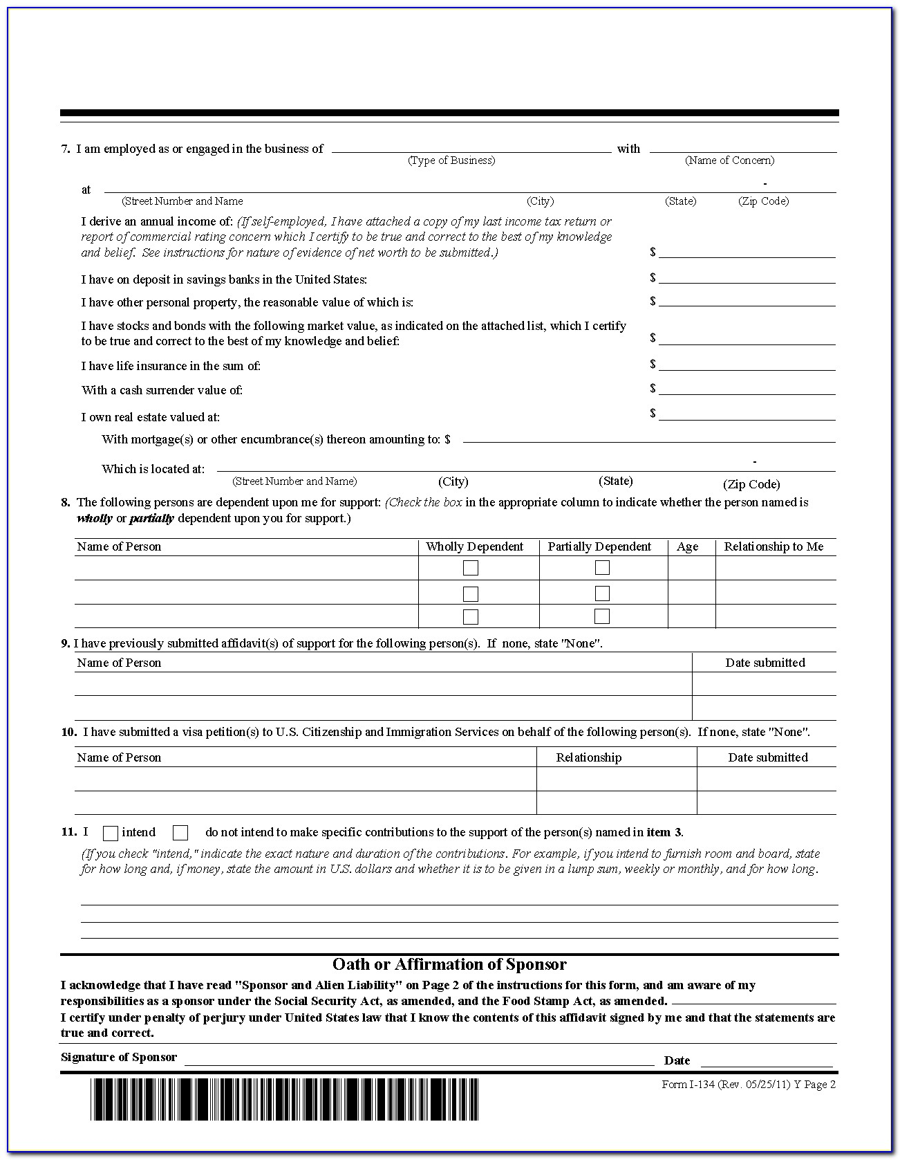 Form I 134 Affidavit Of Support 2014 Download