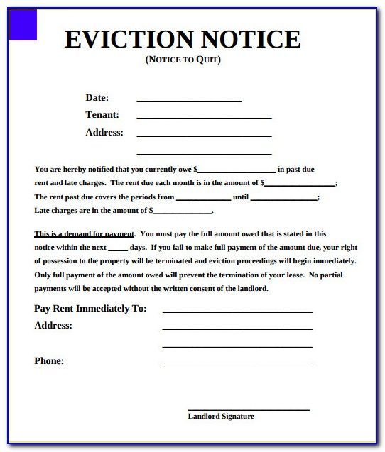 Free Eviction Notice Forms California
