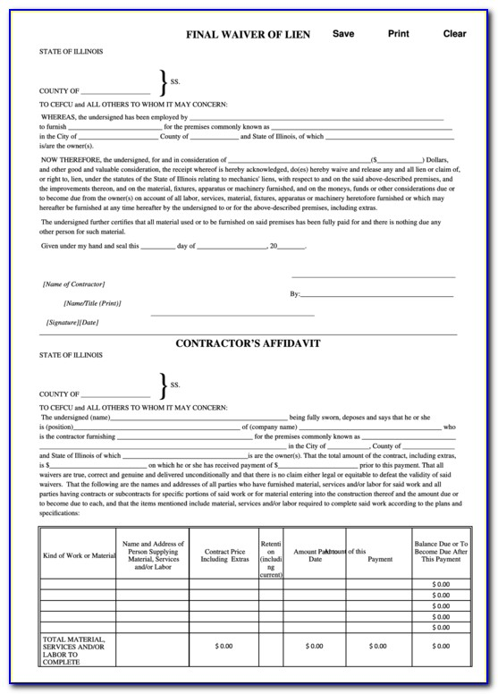 Free Final Waiver Of Lien Form Illinois