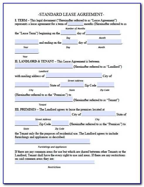Printable Sample Residential Lease Agreement Template Form | Real Inside Apartment Lease Agreement Template