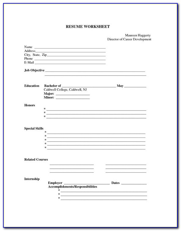 Free Resume Blank Printable Forms