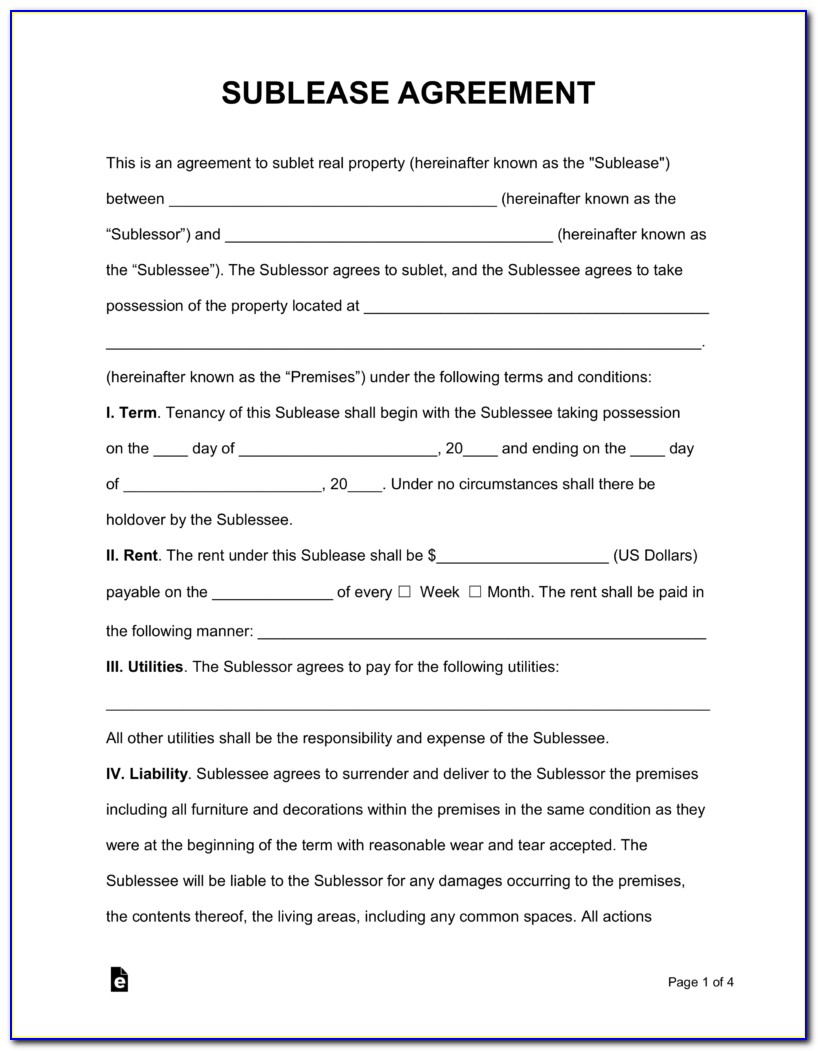 Free Sublease Agreement Form Nyc