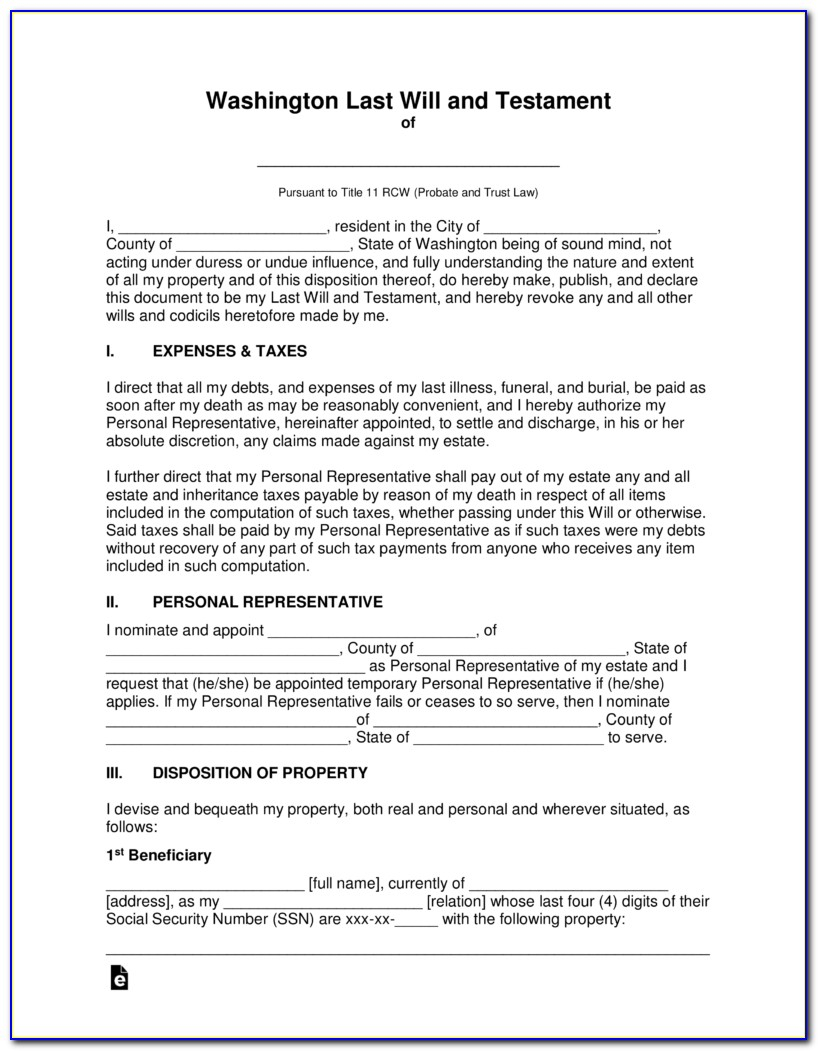 Last Will And Testament Forms Ontario