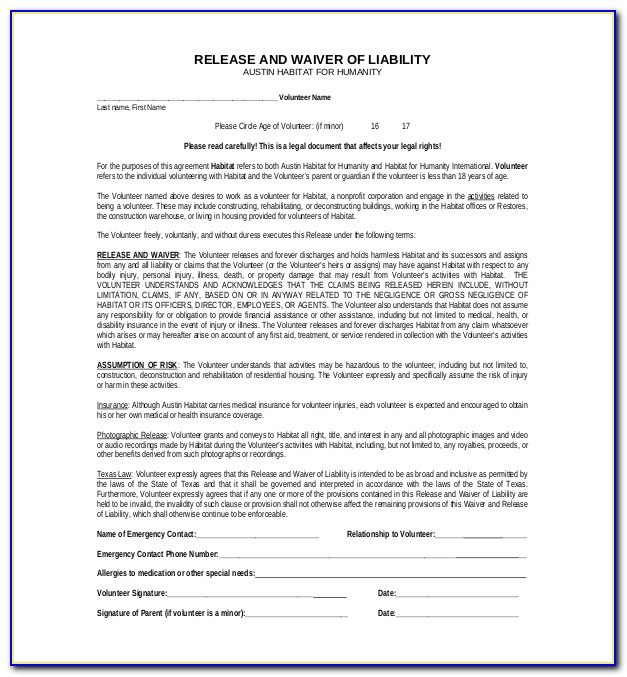 Liability Waiver Form Texas