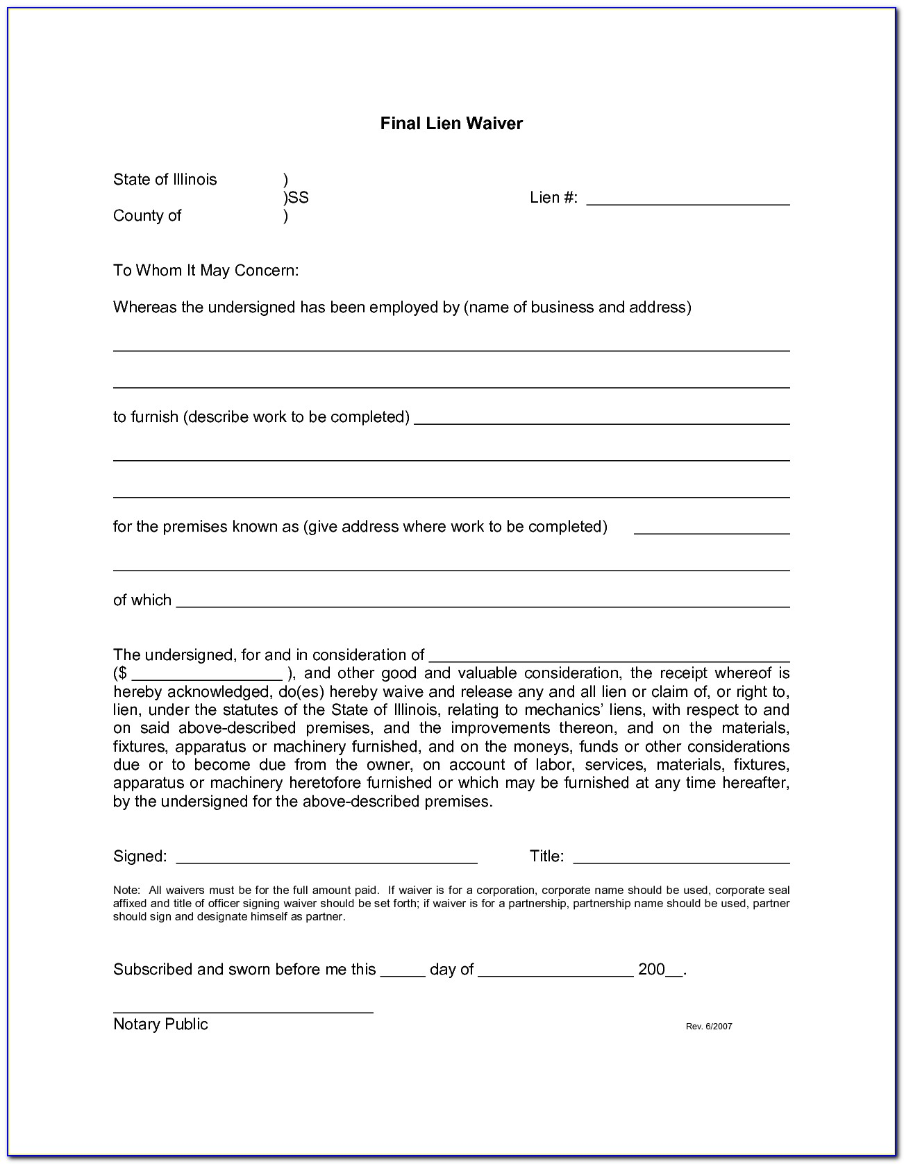 Lien Waiver Forms Illinois
