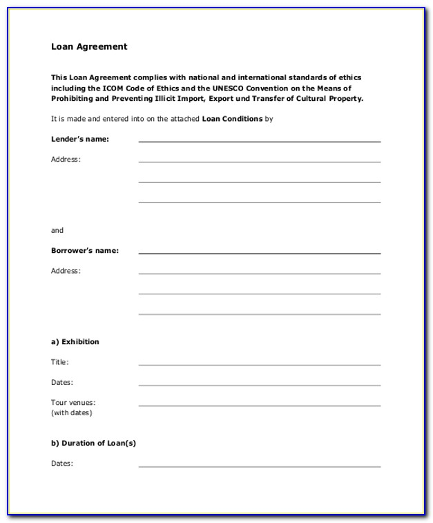 Loan Agreement Form Sample Free