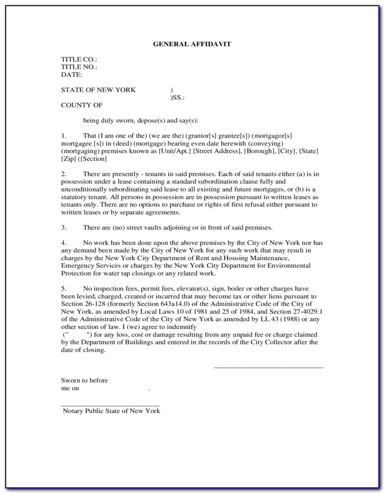Ny Affidavit Form