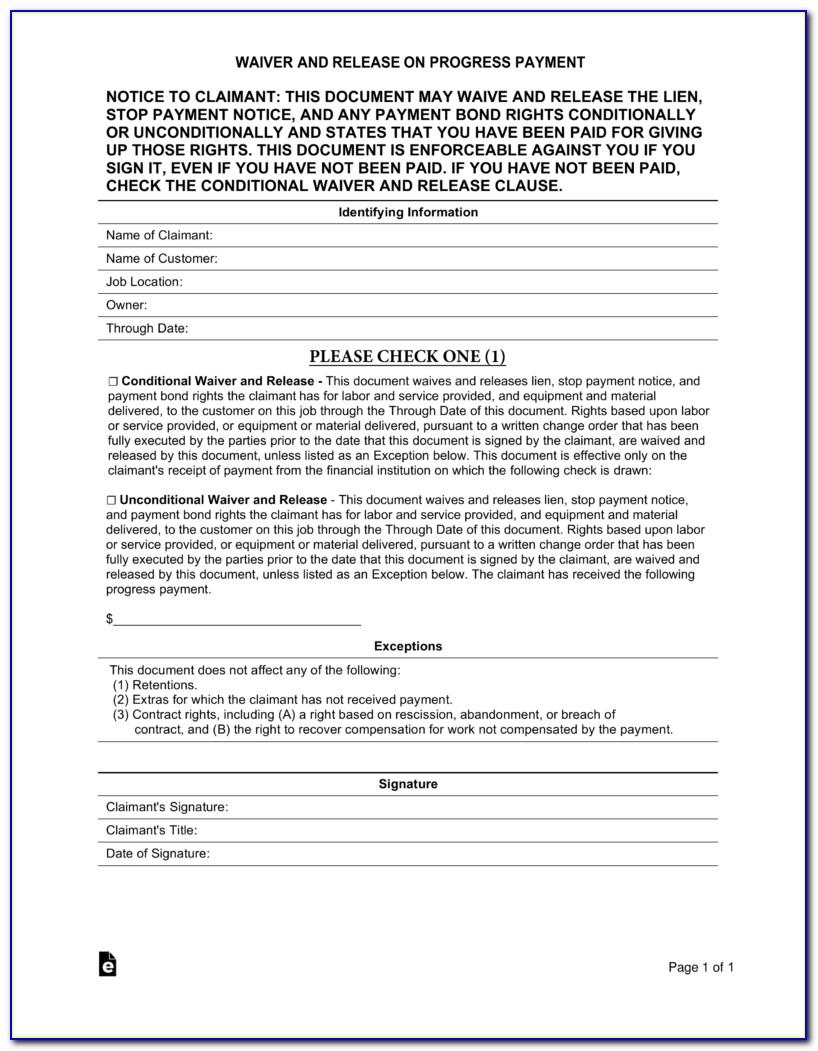 Partial Lien Release Form Florida