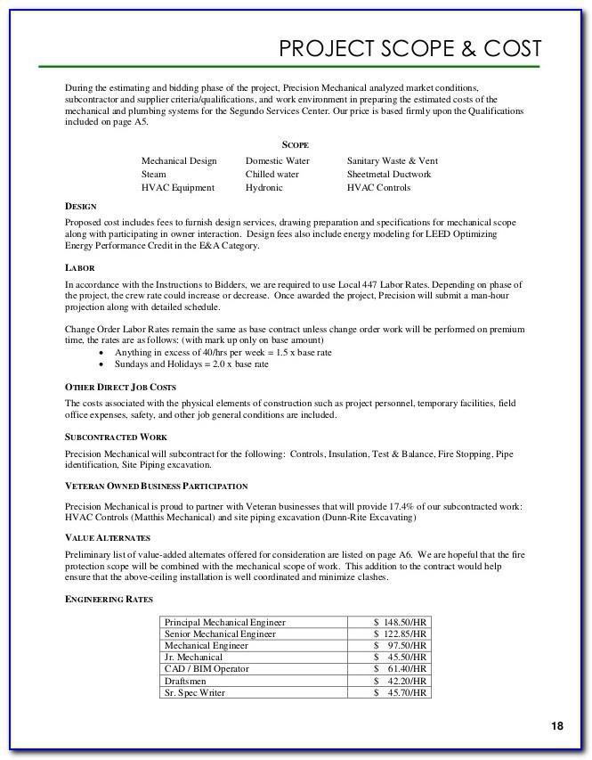 Plumbing Proposal Format