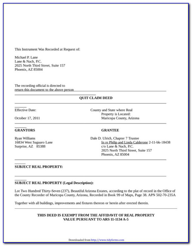 Quit Claim Deed Form Arizona Maricopa County