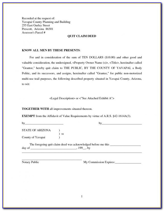 Quit Claim Deed Form Pinal County Arizona