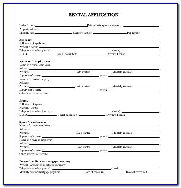 Rental Application Forms Wa